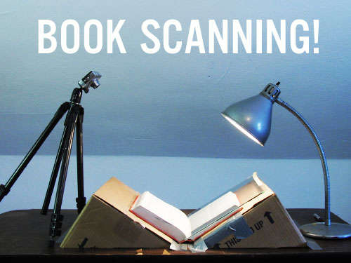 A book scanner made of cardboard and duct tape